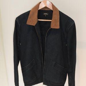 APC: Blue Jean Jacket with tan collar- Size medium